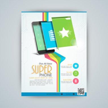 Flyer, template or banner design for mobile shop.