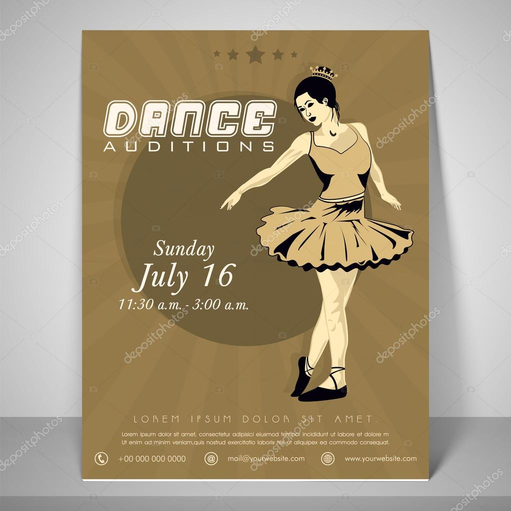 flyer template and banner for dance audition stock vector