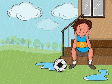 Rainy Day concept with sad boy.