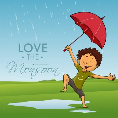 Cute dancing boy for Happy Monsoon.