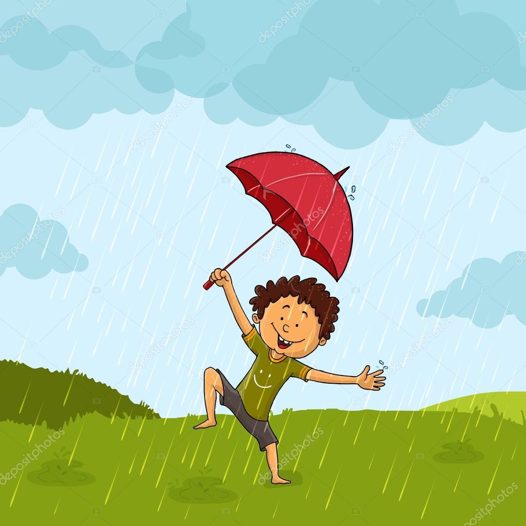 Cute boy in rain for Monsoon Season concept.
