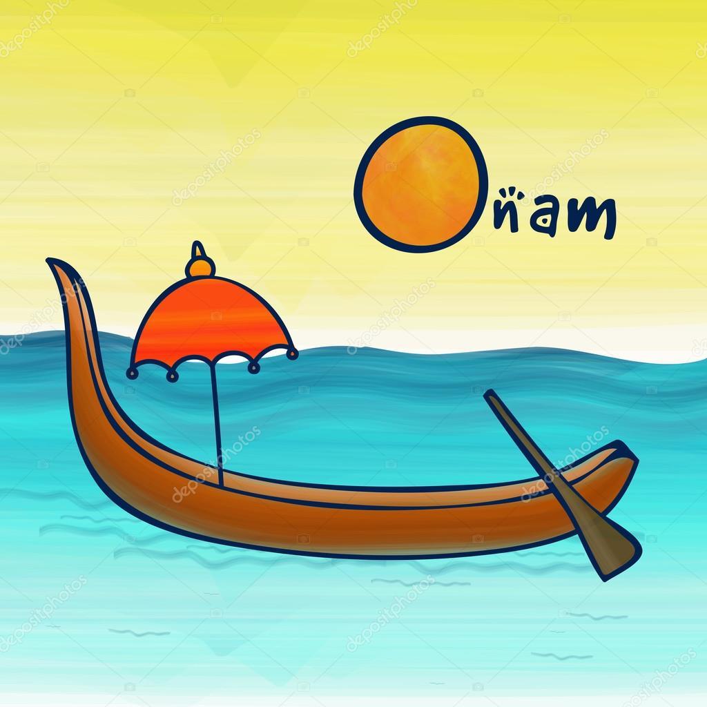 Happy Onam celebration with snakeboat