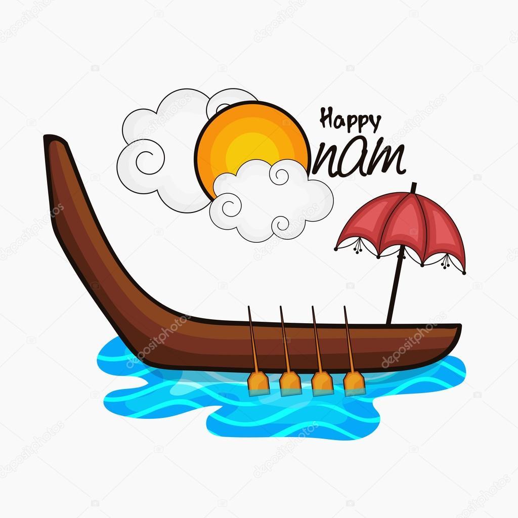Greeting Card For Happy Onam Celebration Stock Vector