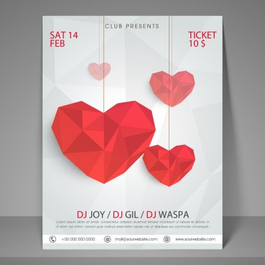 Happy Valentines Day party flyer, banner or template with red abstract hearts.