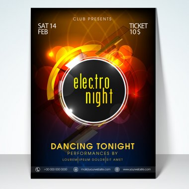 Valentines day electro night party flyer, banner or template design. stock vector