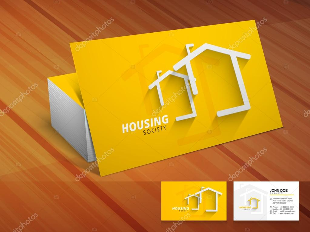 Creative business card for housing society stock vector creative shiny business or visiting card design in yellow color on wooden background for housing society vector by alliesinteract reheart Gallery
