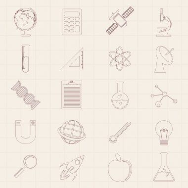 Set of Science signs and symbols.