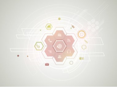 Technology background with web icons.