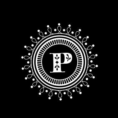 Premium monogram with English Alphabet P.