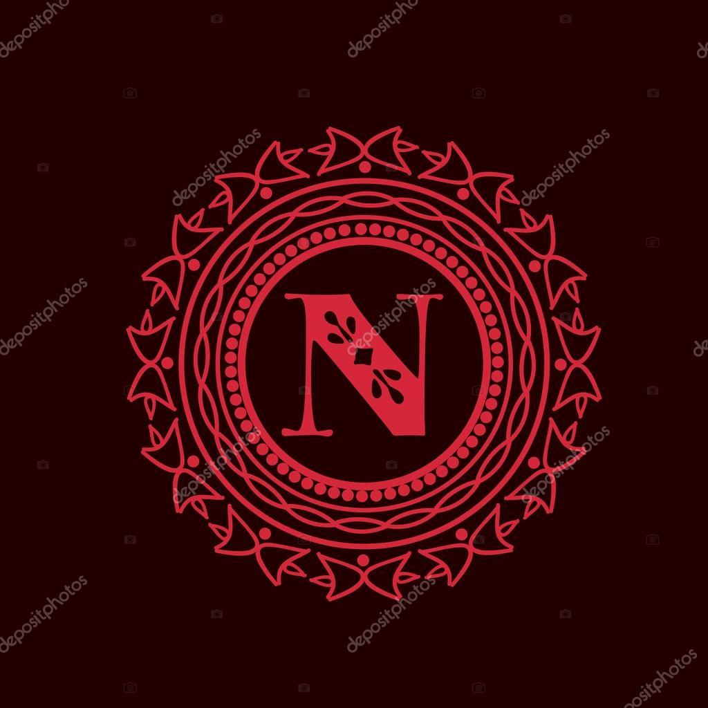 Roter Rahmen mit Buchstaben N für Monogramm — Stockvektor ...
