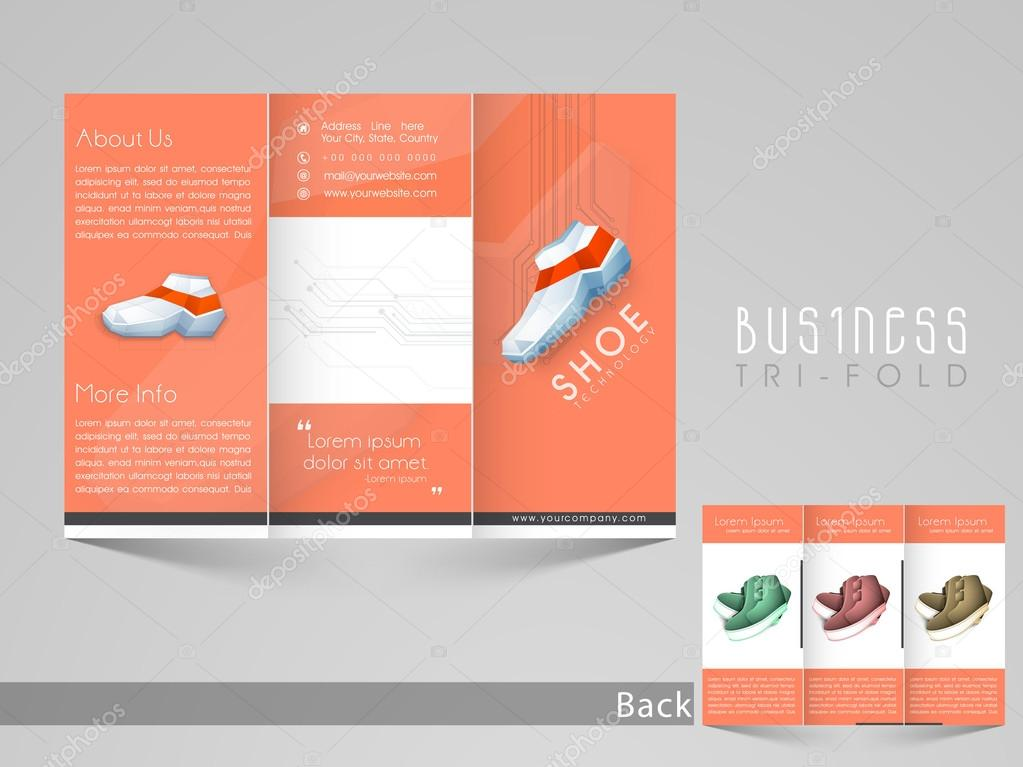 stylish trifold flyer or banner for shoe company stock vector