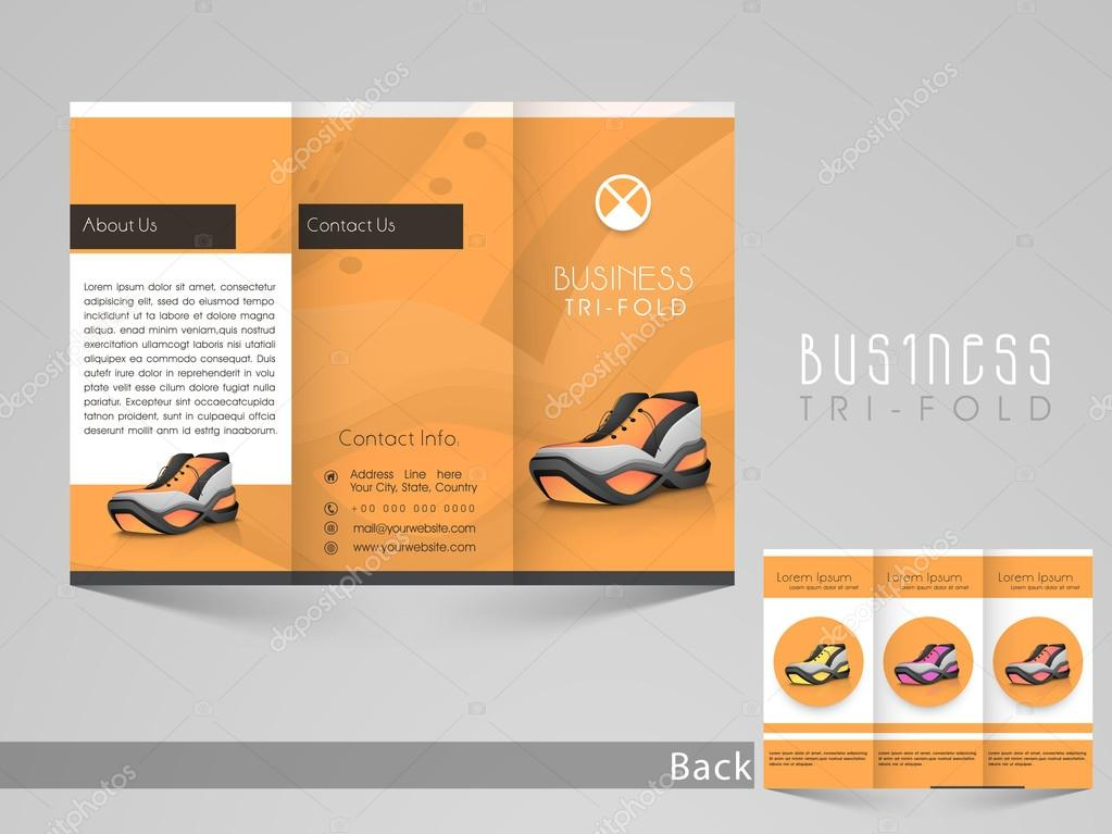 stylish trifold brochure or flyer template for shoe shop