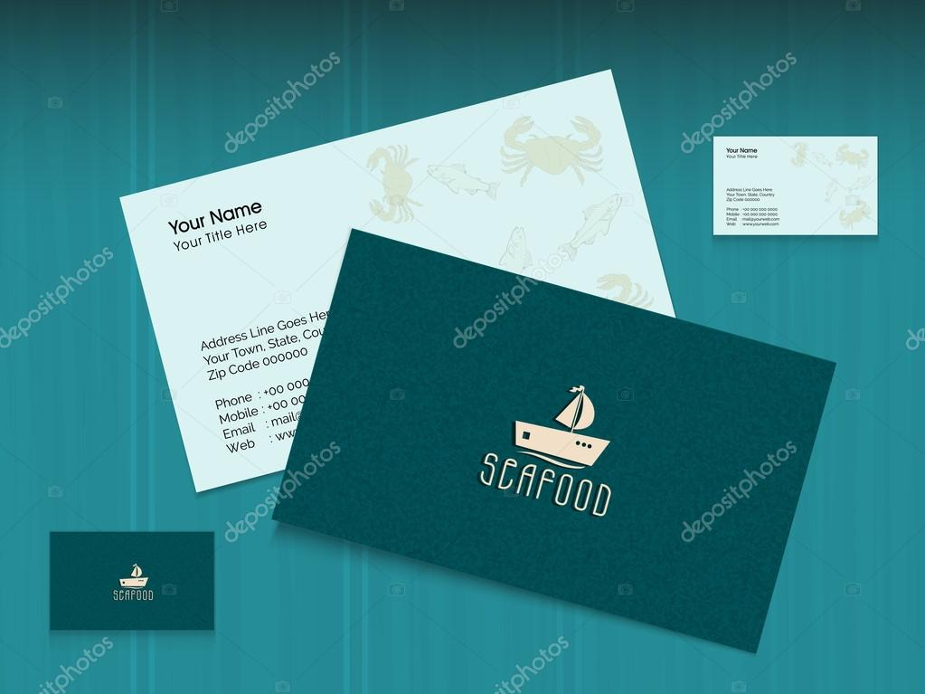 Business card or visiting card for seafood restaurant. — Stock ...