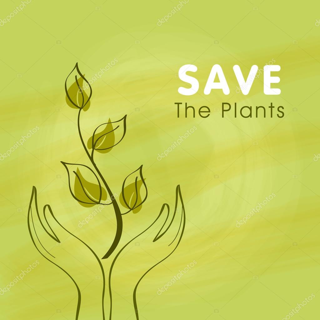 Human hand with plant for Save Nature.