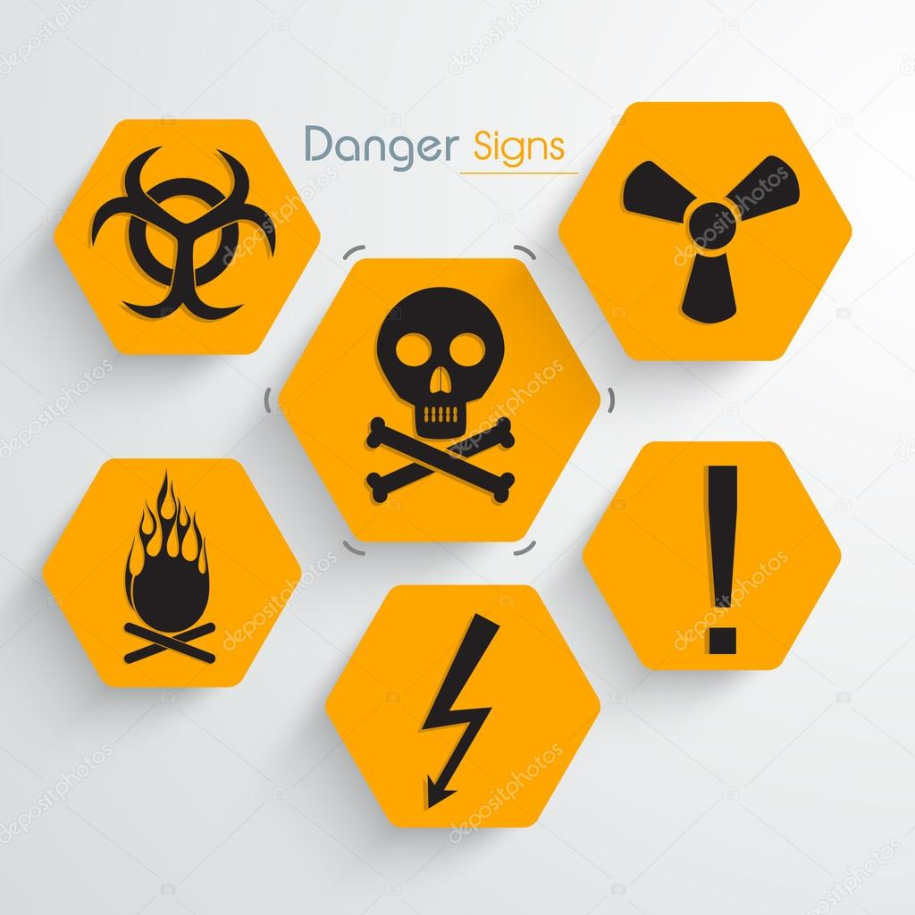 Set Of Danger Signs And Symbols Stock Vector Alliesinteract