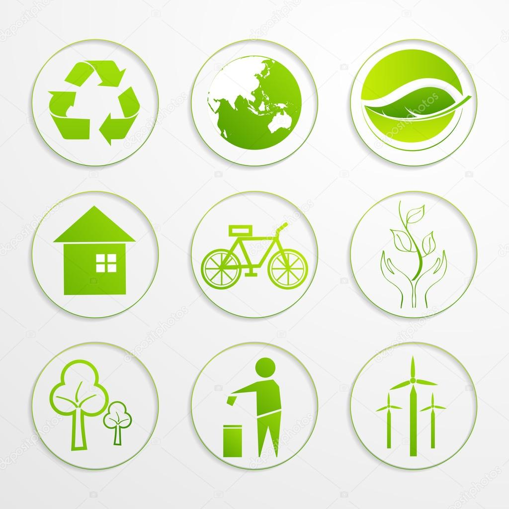 Set of ecological signs and symbols.