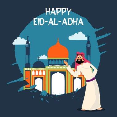 Eid-Al-Adha celebration with arabian man and mosque.
