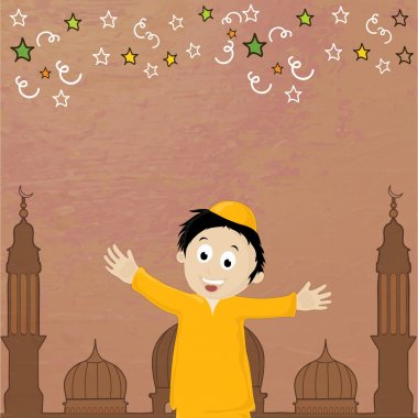 Eid-Al-Adha celebration with cute boy and mosque.