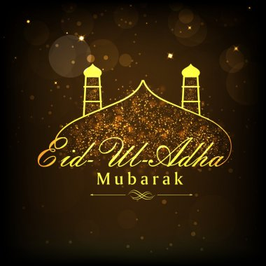 Eid-Ul-Adha celebration with stylish text and mosque.