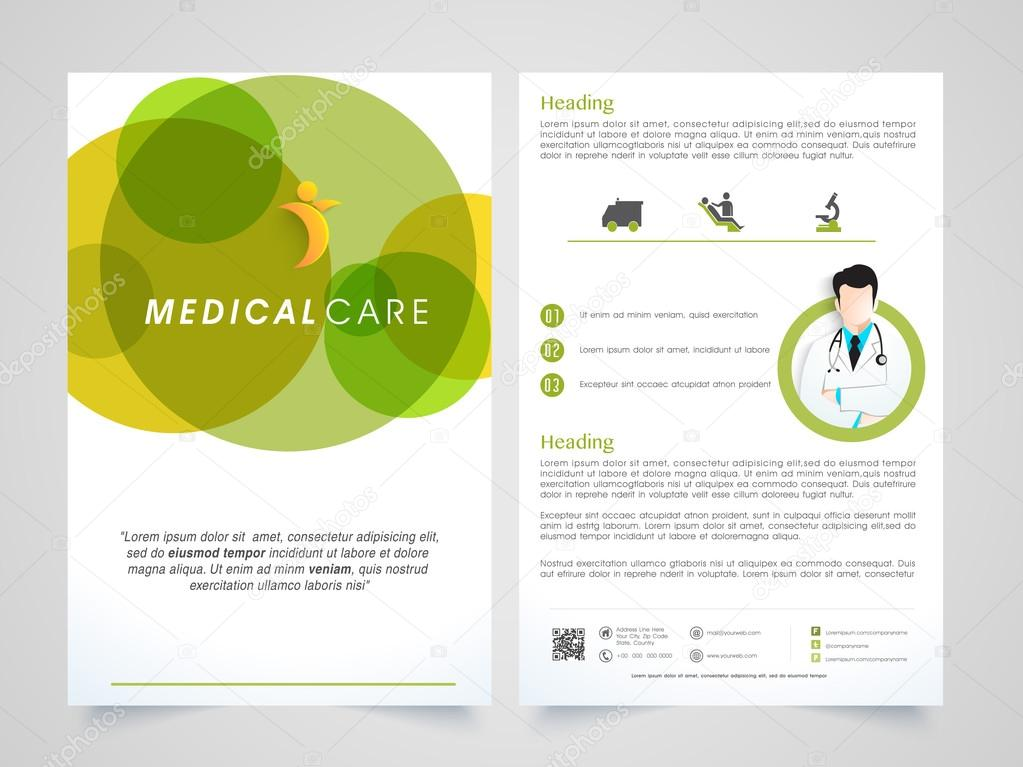 medical care brochure template or flyer design ストックベクター
