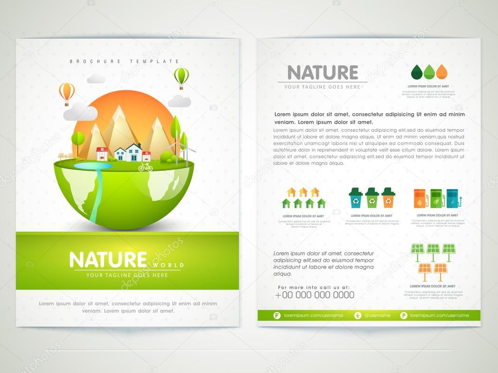 Brochure, Template of Flyer for Nature.