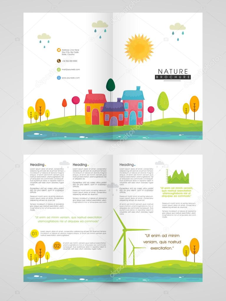 Two Page Nature Brochure Template Or Flyer Design Stock Vector - Two page brochure template