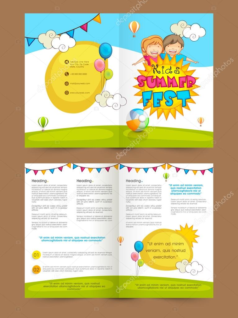 Kids Summer Fest Two Page Brochure Template Or Flyer Stock