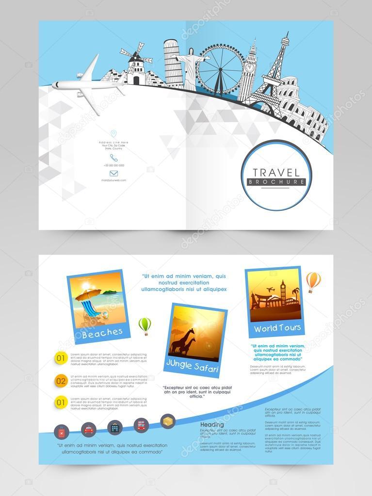 2 ページのパンフレット テンプレートまたは旅行のためのチラシ