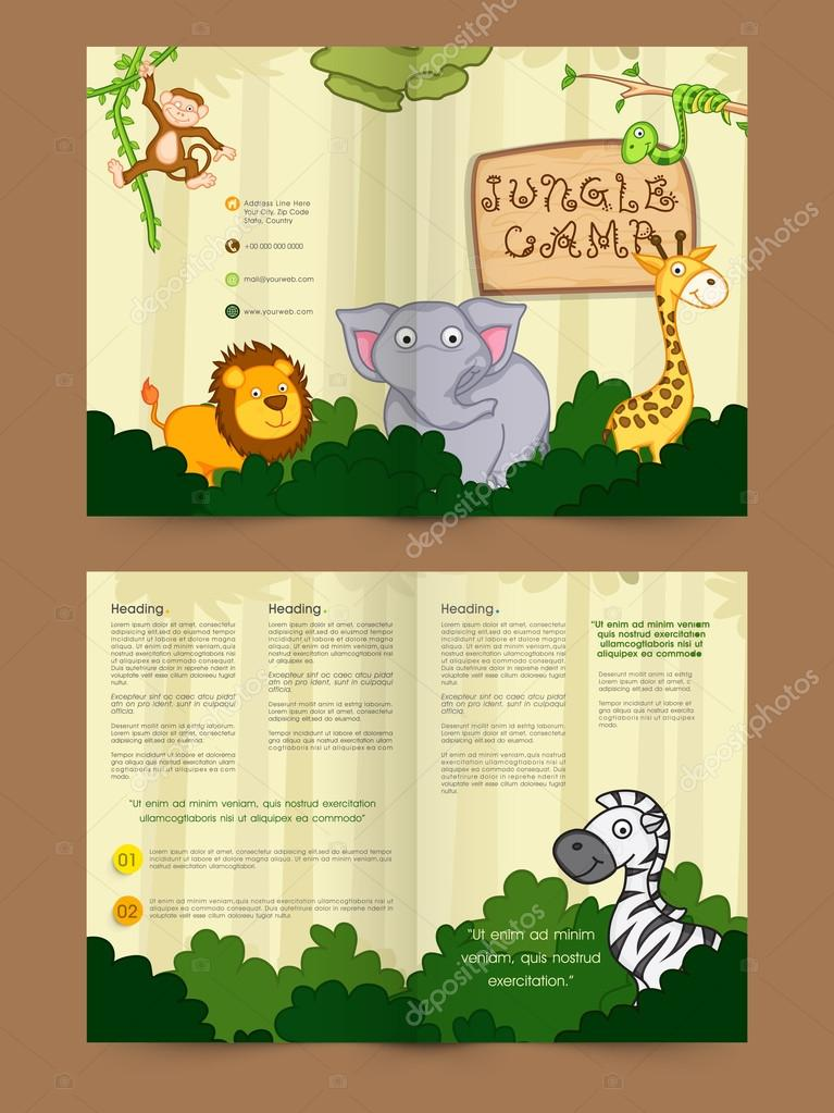 two page brochure template of flyer for jungle camp stock vector