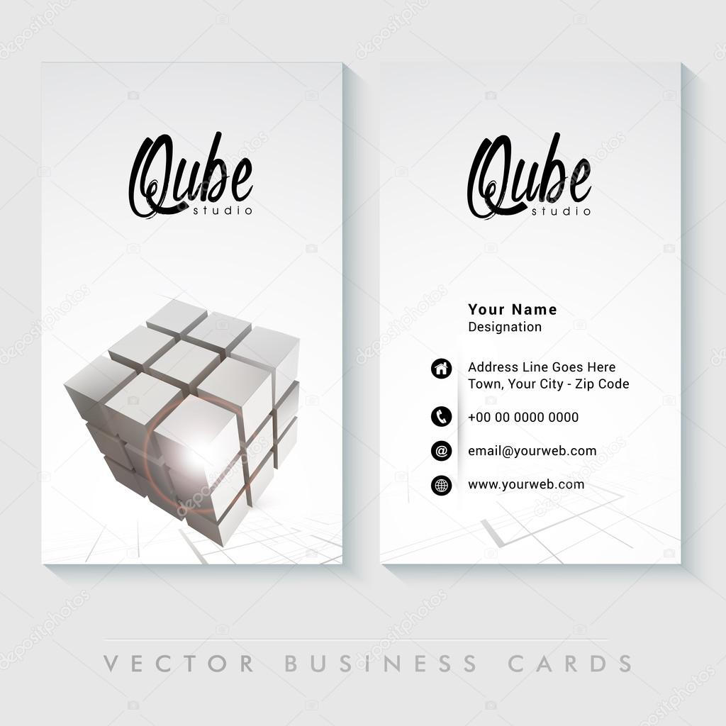 Professional Vertical Business Card Or Visiting Set Stock Vector