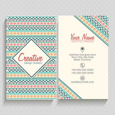 Floral vertical Business card or Visiting card set.