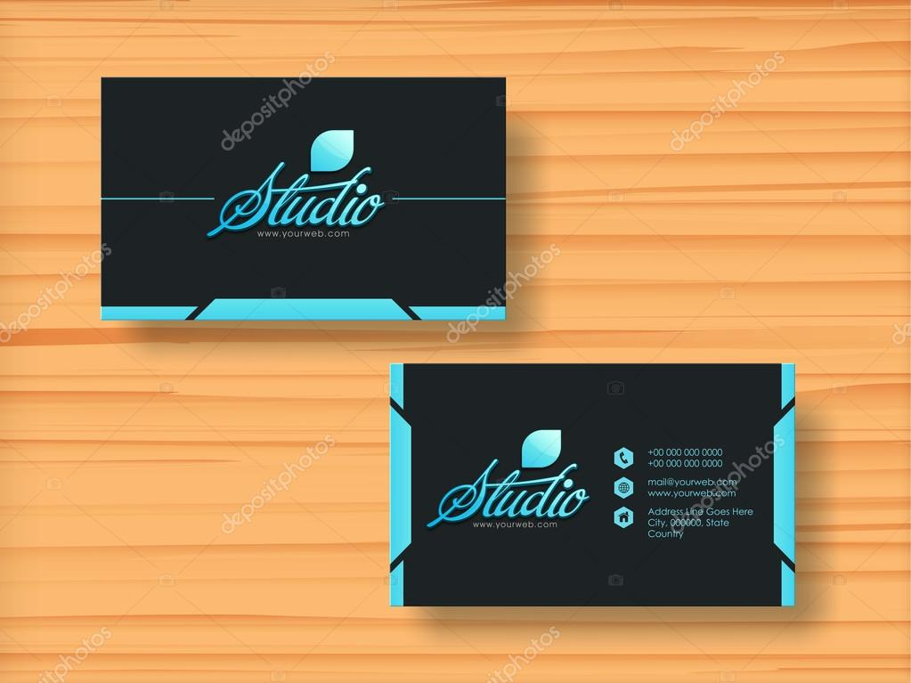 Stylish horizontal business card or visiting card. — Stock Vector ...