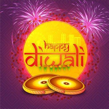 Greeting card for Happy Diwali celebration.