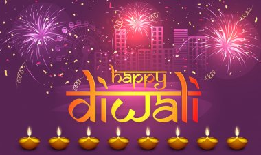 Stylish text Happy Diwali with illuminated lit lamps on fireworks decorated urban city background, can be used as poster, banner or flyer for Indian Festival of Lights celebration. stock vector