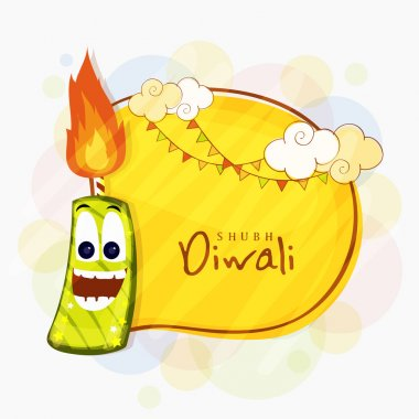 Funny firecracker for Happy Diwali celebration.