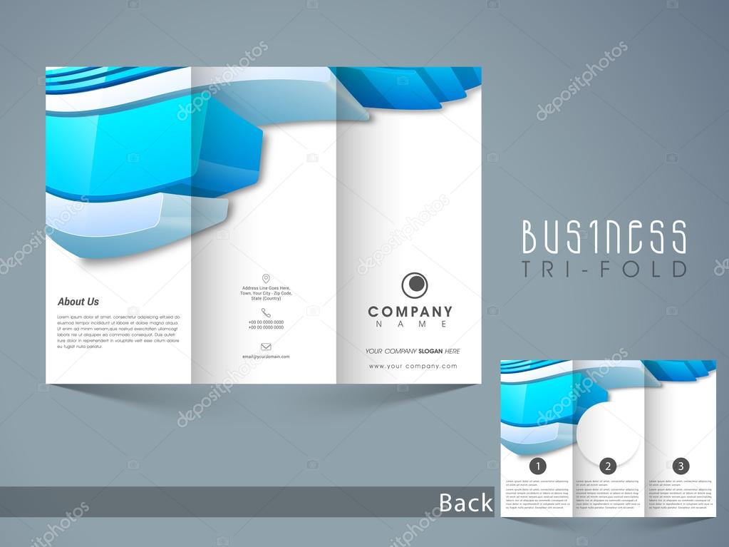 Abstract Trifold Brochure Template Or Flyer Design Stock Vector