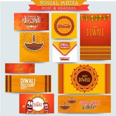 Creative social media post or header set for Indian Festival of Lights, Happy Diwali celebration. stock vector