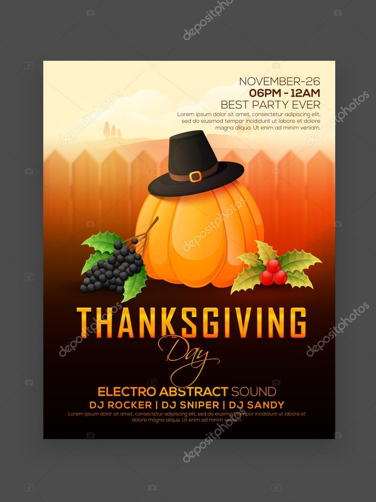 Elegant Flyer Banner Or Pamphlate For Happy Thanksgiving Day Party Celebration Premium Vector In Adobe Illustrator Ai Ai Format Encapsulated Postscript Eps Eps Format