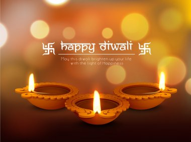 Glossy traditional illuminated oil lit lamps on shiny background for Indian Festival of Lights, Happy Diwali celebration. stock vector