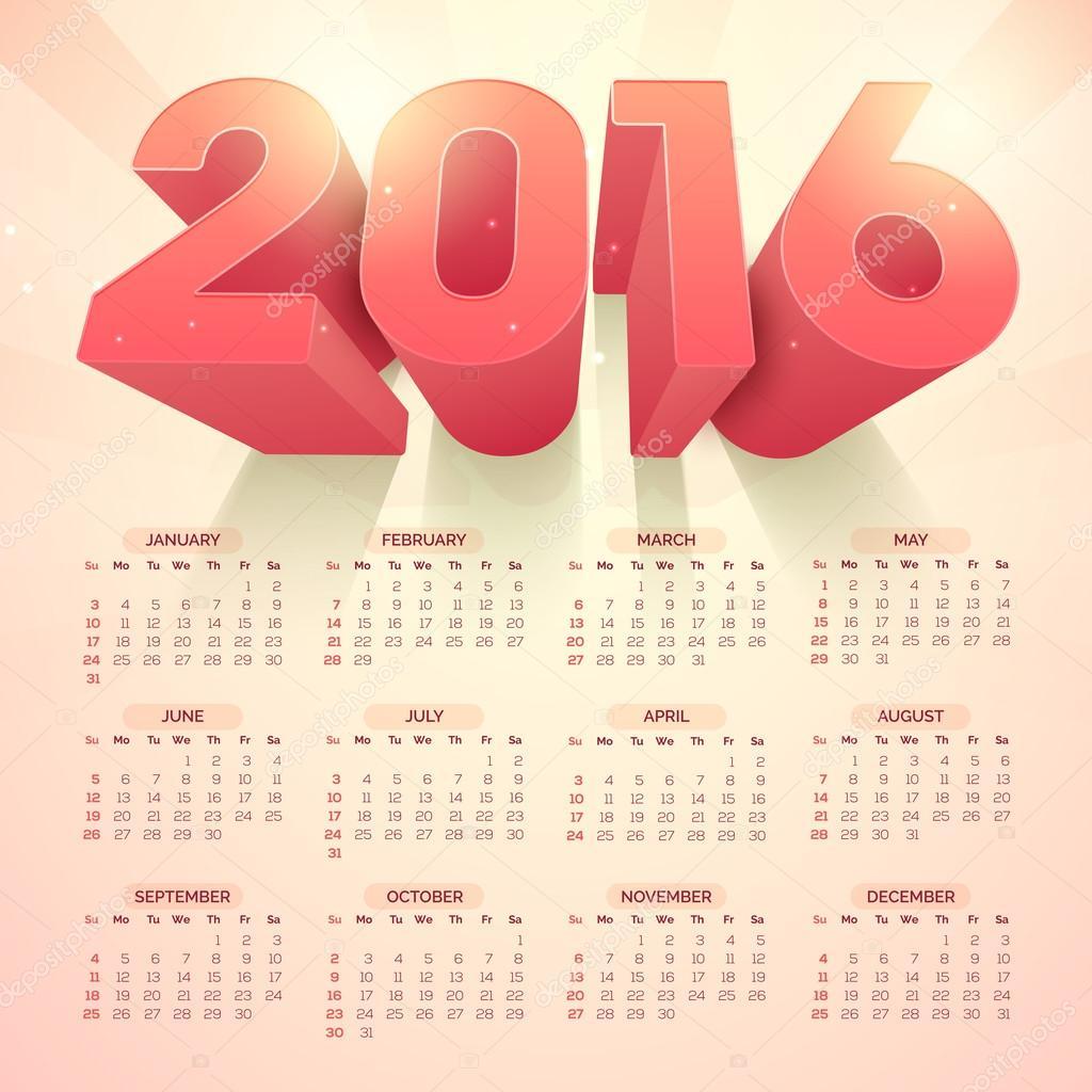 Illustration Calendar Design : Stylish yearly calendar design — stock vector