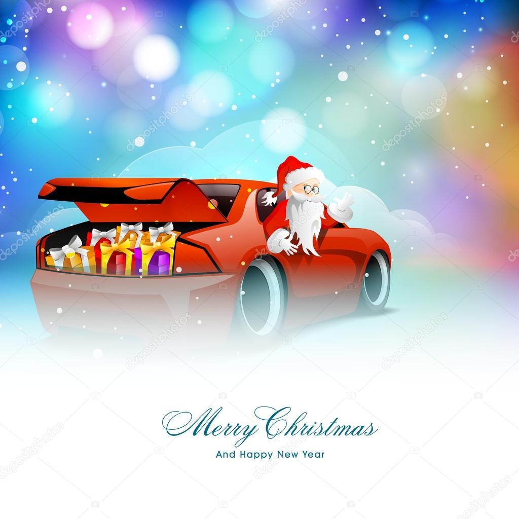 Weihnachtsmann Im Auto Fur Weihnachten Und Neujahr Stockvektor