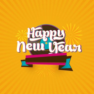 Greeting card design for Happy New Year.
