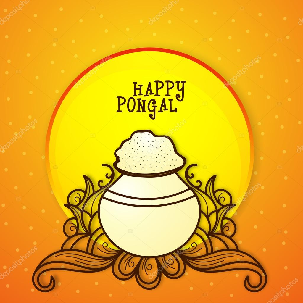 Greeting card for pongal celebration stock vector south indian harvesting festival happy pongal celebration greeting card with traditional mud pot on glossy floral background vector by alliesinteract m4hsunfo