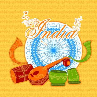 Traditional Musical Instruments for Indian Republic Day.