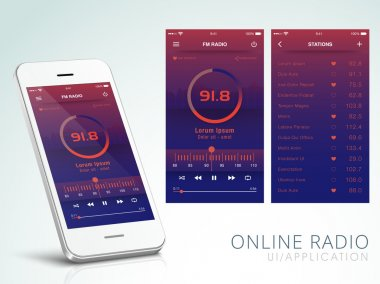Online Radio User Interface Screens with Smartphone.