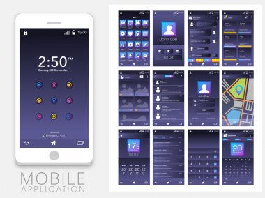Mobile User Interface Screens with Smartphone.