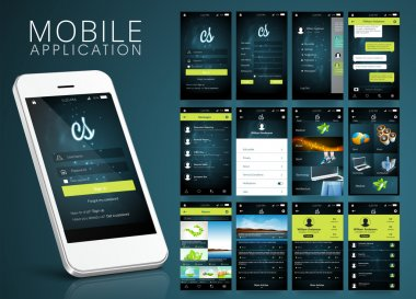 Mobile Application Interface kit with Smartphone.