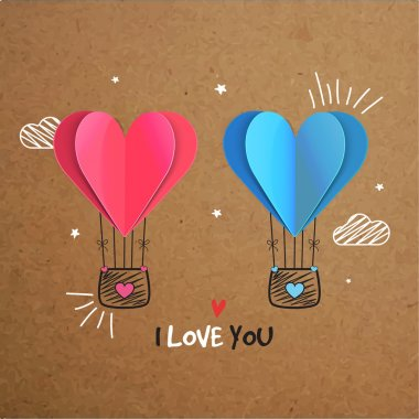 Creative hot air balloons with glossy paper cut out hearts on brown background for Happy Valentine's Day celebration. stock vector