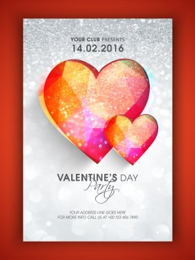 Creative Flyer, Banner or Pamphlet design with colorful hearts on silver glitter background for Valentine's Day Party celebration. stock vector