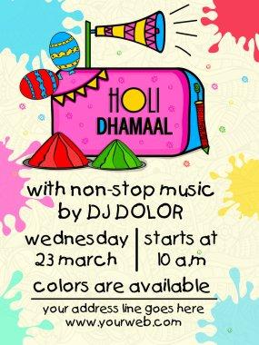 Creative colourful splash decorated Pamphlet, Banner or Flyer design for Indian Festival, Holi Party celebration. stock vector